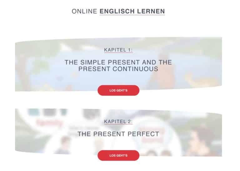 Inhaltsübersicht Englischkurs
